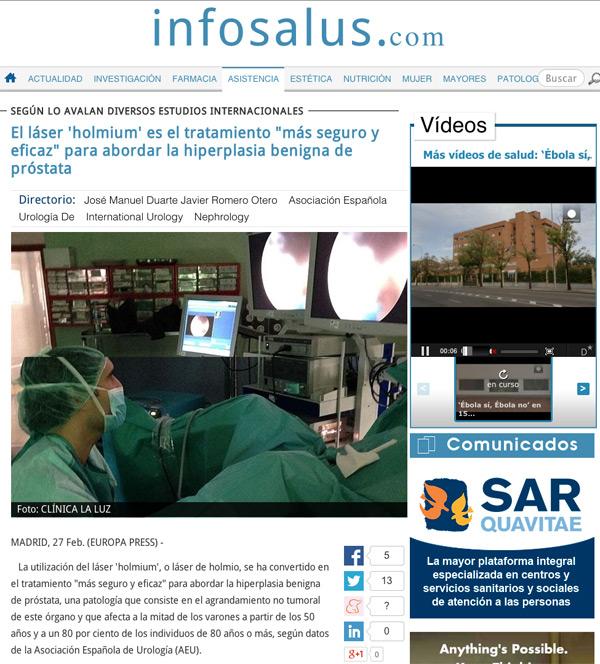 """El láser holmium, el tratamiento """"más seguro y eficaz"""" para la hiperplasia benigna de próstata"""