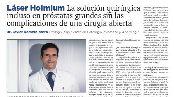 Láser Holmium La solución quirúrgica incluso en próstatas grandes