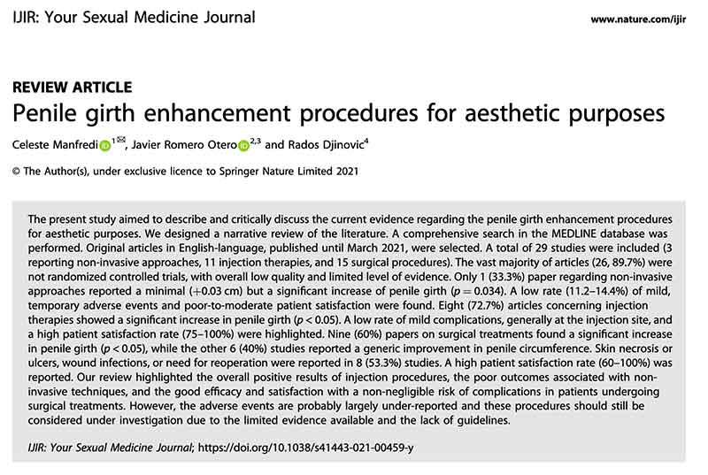 estudio sobre procedimientos de mejora estética del pene